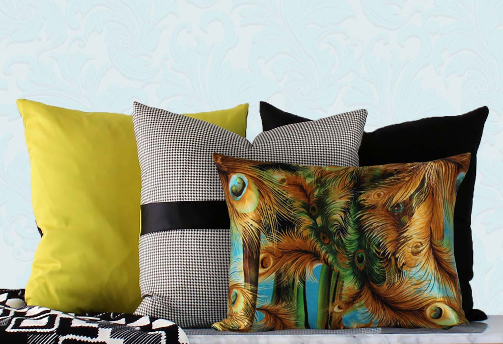 Palm Springs Feather Block Print Cushion