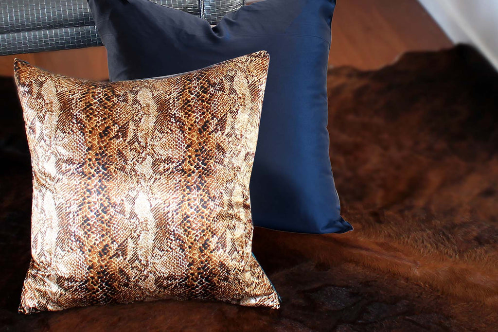 Amazon Reptile Brown Block Print Silk Cushion