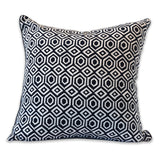 Anchorage French Navy Block Print Cushion
