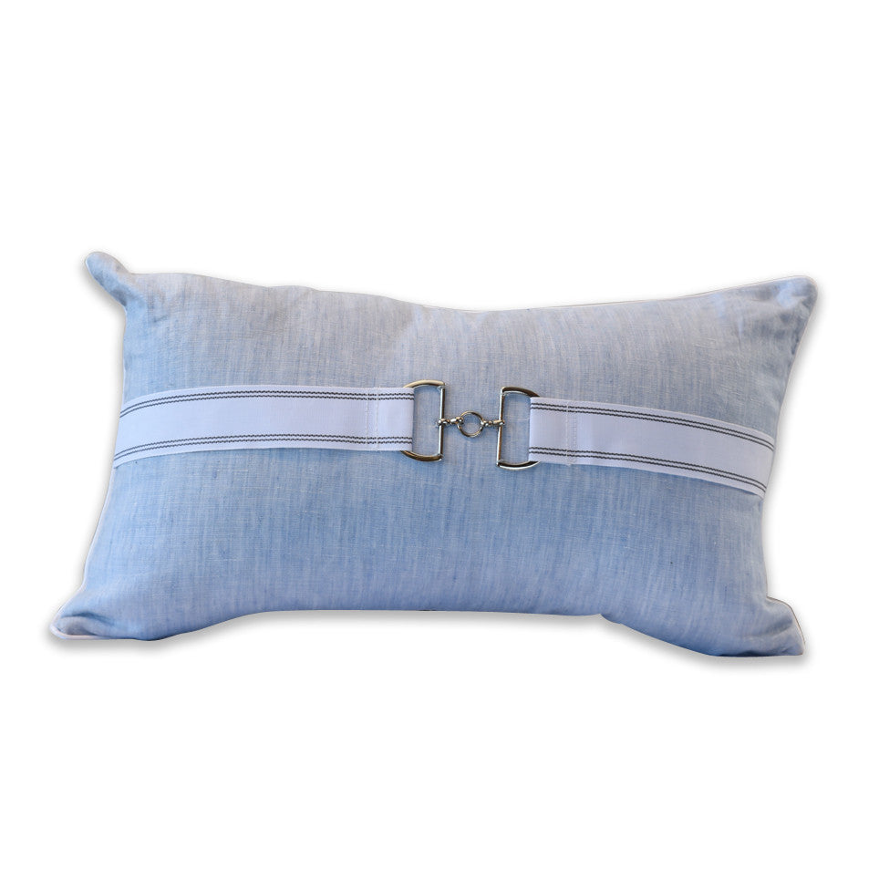 Anchorage Powder Blue Linen Cushion with Embellishment