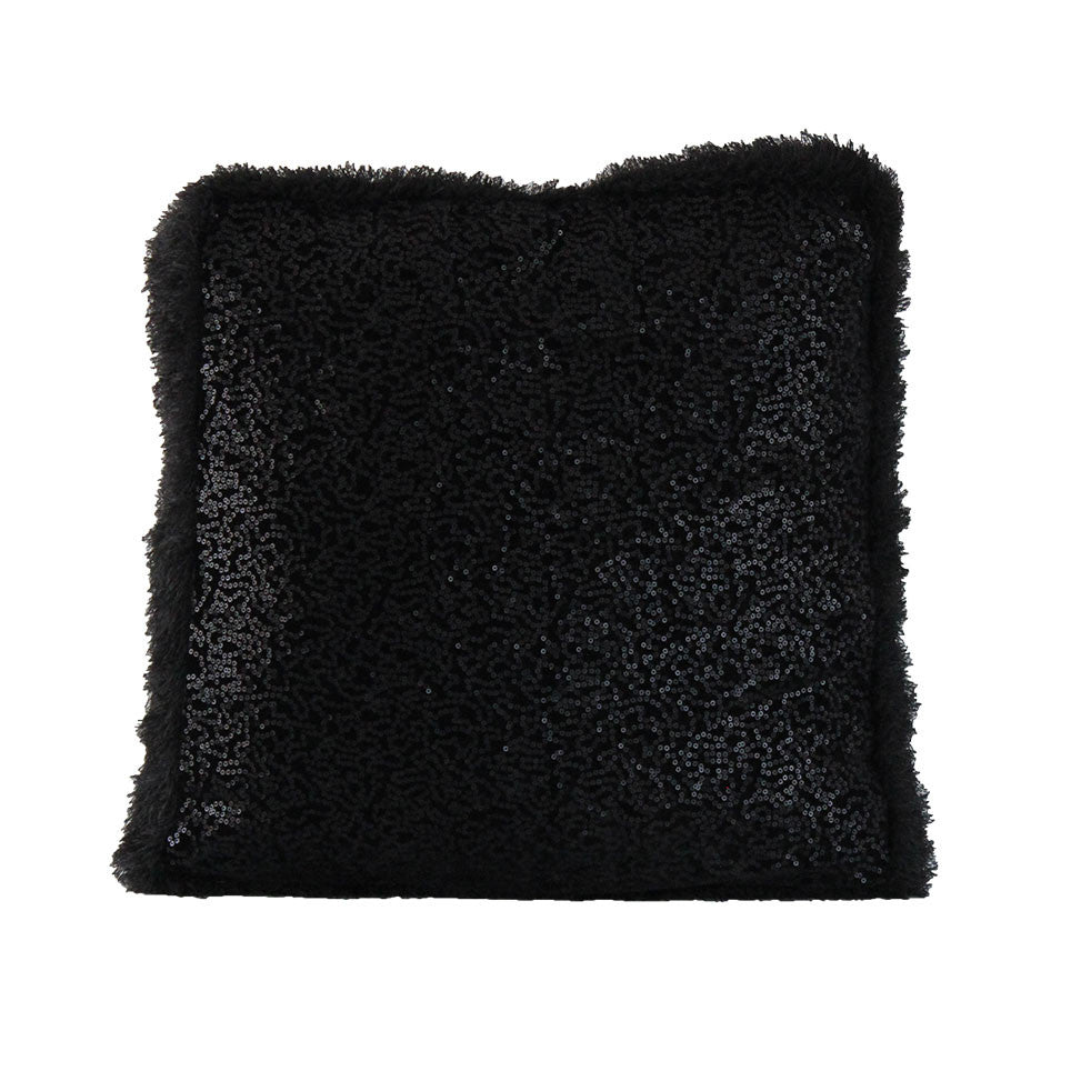 Wood Perry Black Sequin Box Cushion with Fur Trim