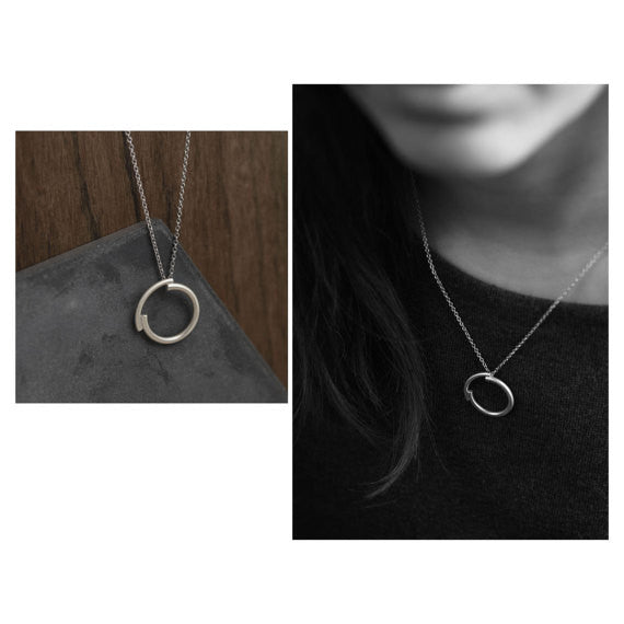 Set of Concentric circles pendant earrings, necklace and ring AgJc - 2