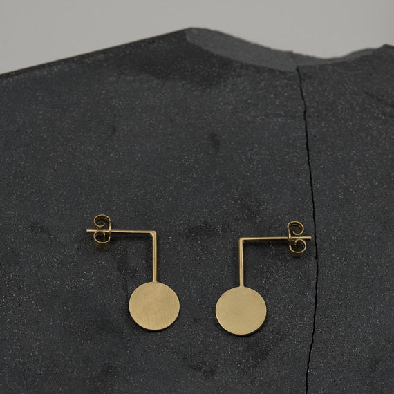 Gold circle graphic drop earrings N10 AgJc - 4