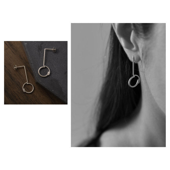 Set of Concentric circles pendant earrings, necklace and ring AgJc - 4