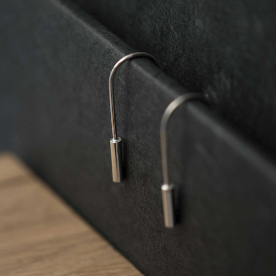 Cylindrical bar earrings N°2 AgJc  - 4
