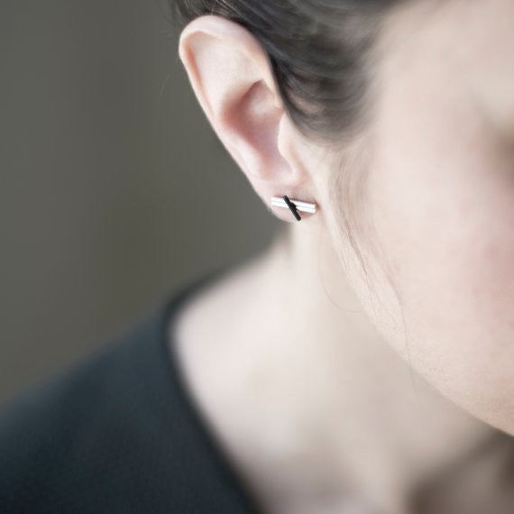 Minimalist staple earrings N°6 AgJc  - 2