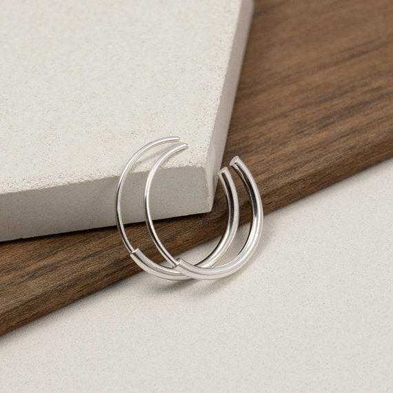 Silver hoop earrings medium – Les Cylindriques N11 AgJc - 3