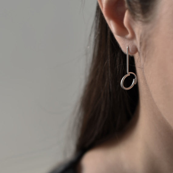Concentric circles pendant earrings N°2 AgJc -4