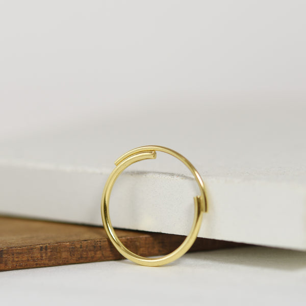 Thin 22K Gold Filled Ring Featuring Interlocking Circle Arcs n°7 AgJc -1