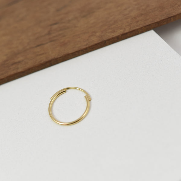 Thin 22K Gold Filled Ring Featuring Interlocking Circle Arcs n°7 AgJc -3
