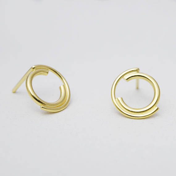 Unique gold filled stud earrings N°9 AgJc -1