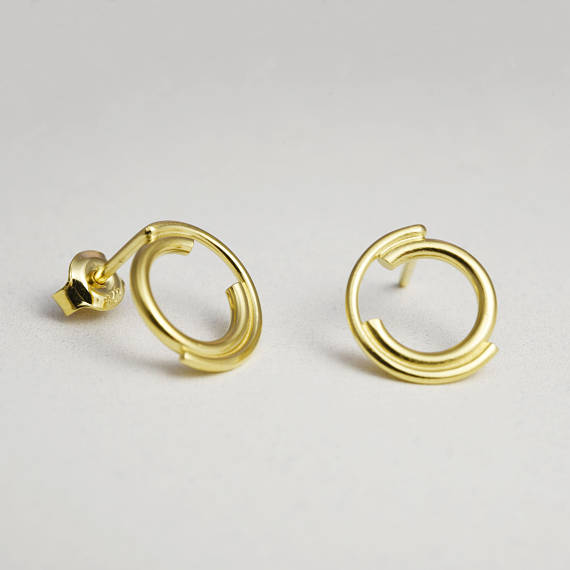 Unique gold filled stud earrings N°9 AgJc -2
