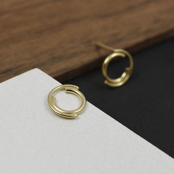 Unique gold filled stud earrings N°9 AgJc -5
