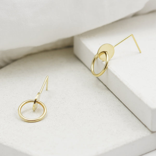 gold earrings with geometric shapes hand made by AgJc