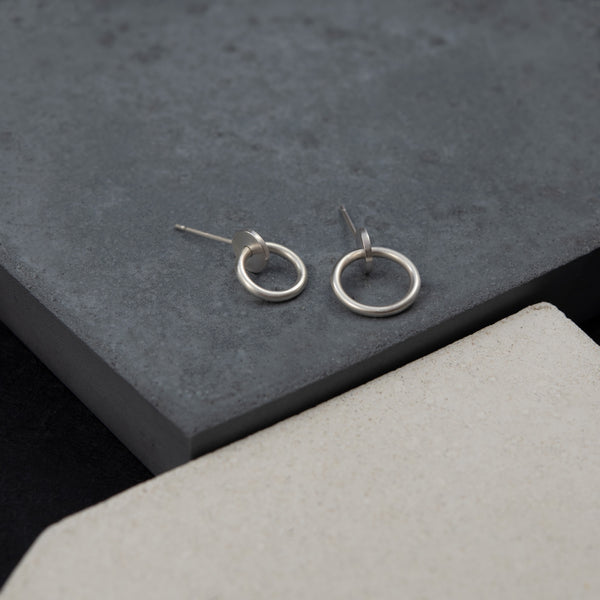 Interlocking dot and circle handmade earrings