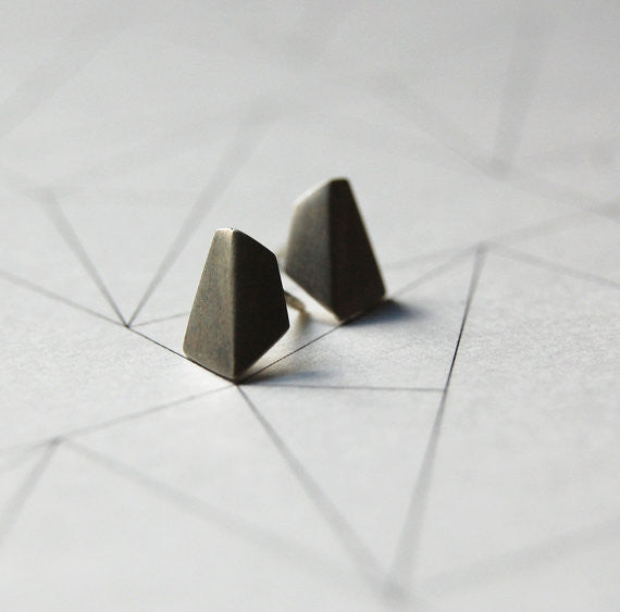 Geometric stud earrings N°1 AgJc Matte - 1