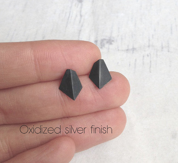 Geometric stud earrings N°1 AgJc Oxidized - 3