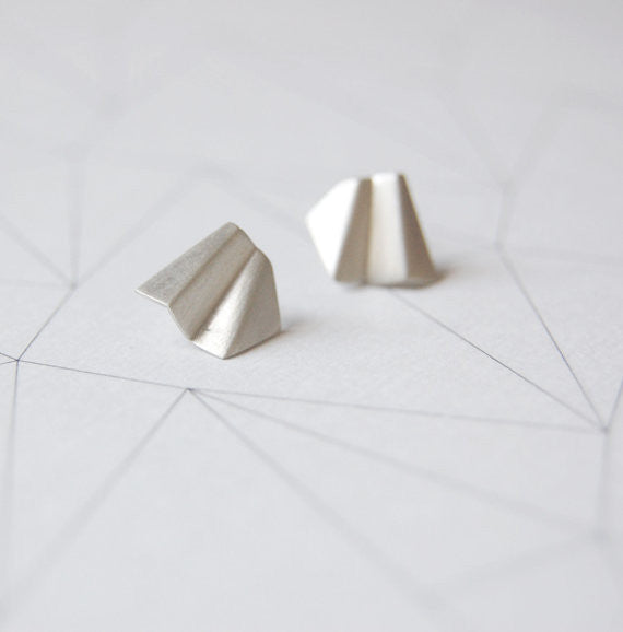 Faceted stud earrings N°2 AgJc  - 1