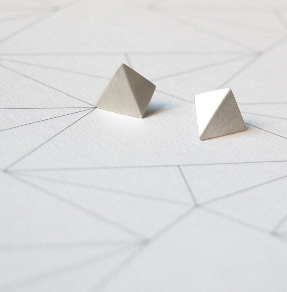 Pyramid stud earrings N°4 AgJc  - 1