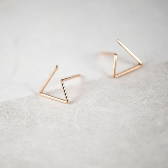 Line triangle earrings N°6 in silver or rose gold filled AgJc Rose gold filled - 1