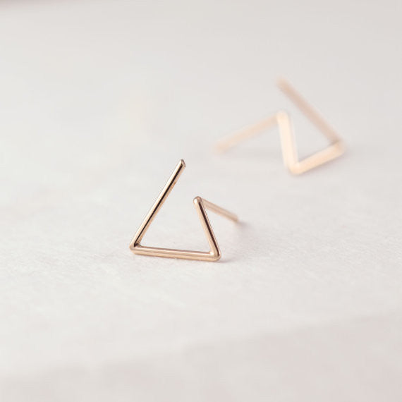 Line triangle earrings N°6 in silver or rose gold filled AgJc  - 2