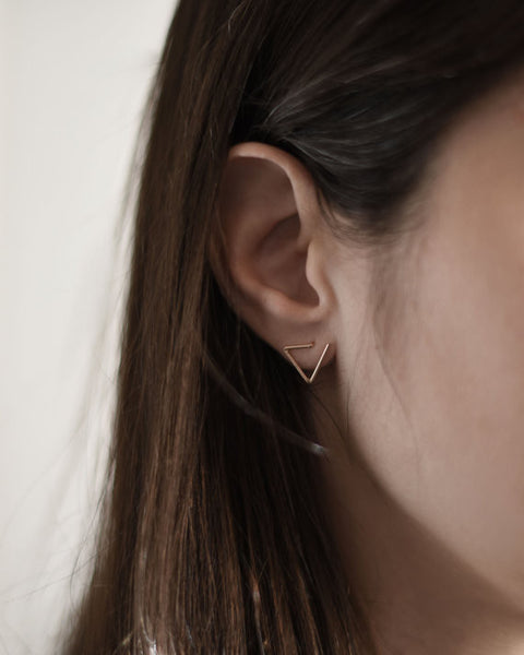 Line triangle earrings N°6 in silver or rose gold filled AgJc  - 3