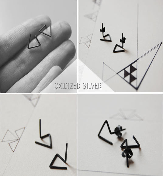 Line triangle earrings N°6 AgJc  - 2