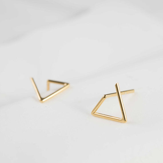 Line triangle earrings N°6 in silver or gold filled AgJc Yellow gold filled - 1