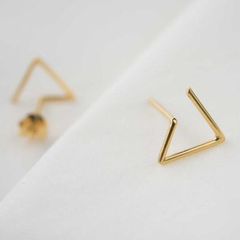 Line triangle earrings N°6 in silver or gold filled AgJc  - 2
