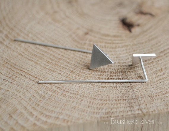 Triangle pendants earrings N°7 AgJc Matte / 1mm - 4