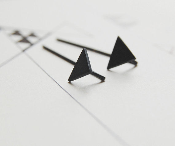 Triangle pendants earrings N°7 AgJc Oxidized / 1mm - 1