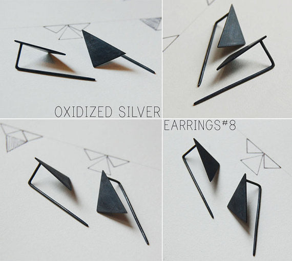 Geometric pendants earrings N°8 AgJc  - 2