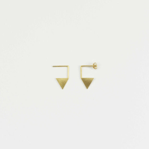 Triangle pendant earrings N°12 in Silver or Vermeil Gold AgJc  - 4