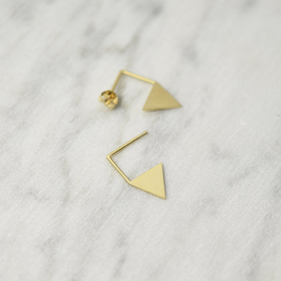 Triangle pendant earrings N°12 in Silver or Vermeil Gold AgJc  - 1