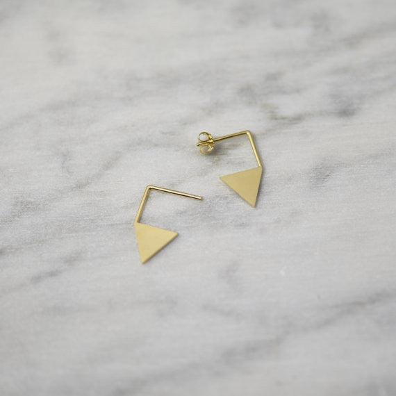 Triangle pendant earrings N°12 in Silver or Vermeil Gold AgJc  - 2