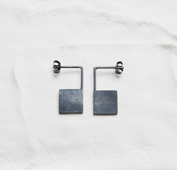 Geometric square earrings N°13 AgJc Oxidized / 1mm - 1