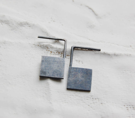 Geometric square earrings N°13 AgJc  - 2