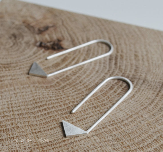 Pointy pendants earrings N°17 AgJc Matte / 1mm - 4