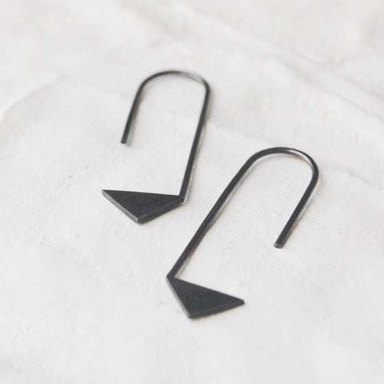 Pointy pendants earrings N°17 AgJc Oxidized / 1mm - 1