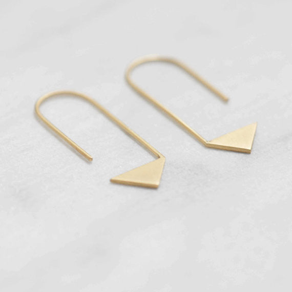 Pointy pendants earrings N°17 in silver or gold filled AgJc Yellow gold plated - 1