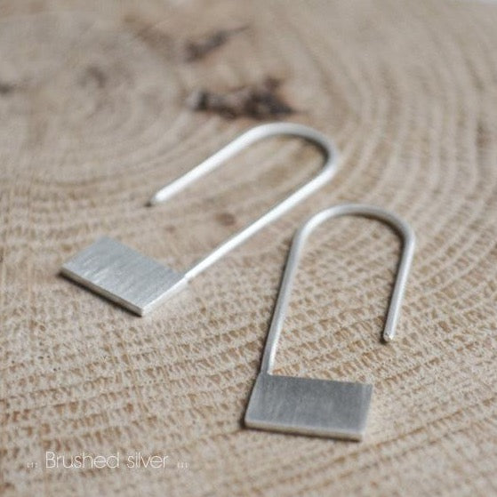 Rectangle pendants earrings N°18 AgJc Matte / 1mm - 4
