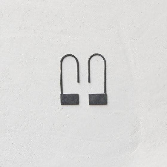 Rectangle pendants earrings N°18 AgJc Oxidized / 1mm - 1