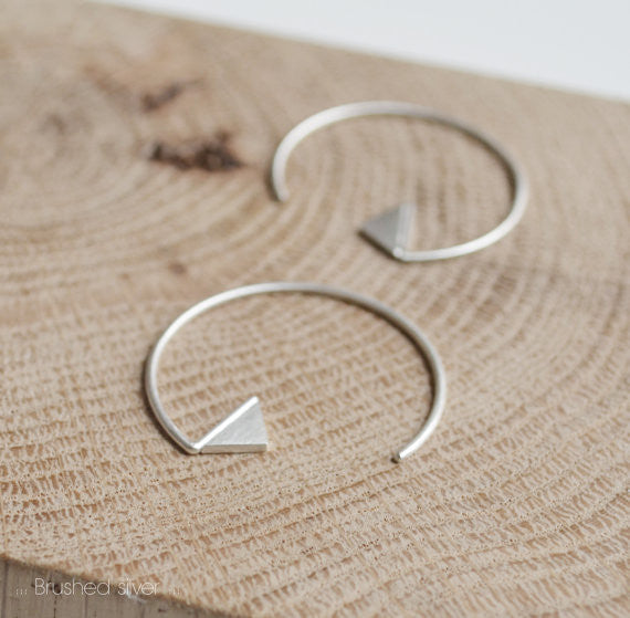 Triangle hoop earrings N°20 AgJc Matte - 3
