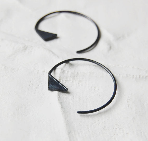 Triangle hoop earrings N°20 AgJc Oxidized - 1