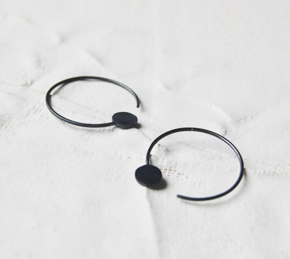 Dot hoop earrings N°21 AgJc Oxidized - 1