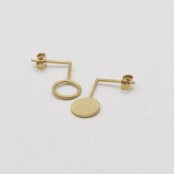 Asymmetrical circle earrings N°23 AgJc Gold filled - 5