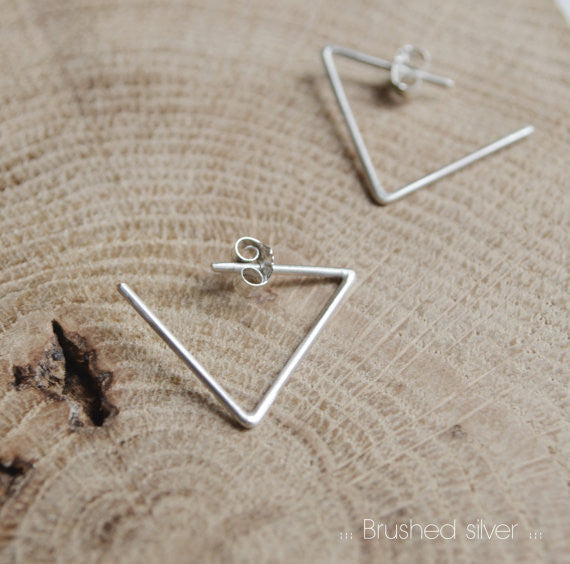 Triangle hoop earrings N°24 AgJc Matte - 4