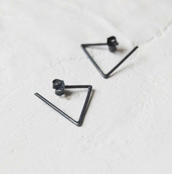 Triangle hoop earrings N°24 AgJc Oxidized - 1
