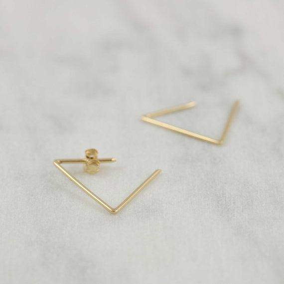 Triangle hoop earrings N°24 in silver or gold filled AgJc  - 2