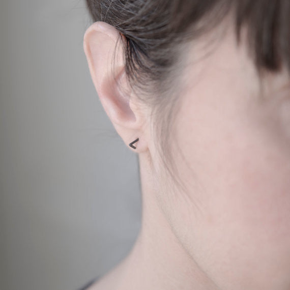 Geometric tiny stud earrings N°42 AgJc  - 4